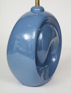 Mid Century Conflower Blue Porcelain Lamps - 1035160