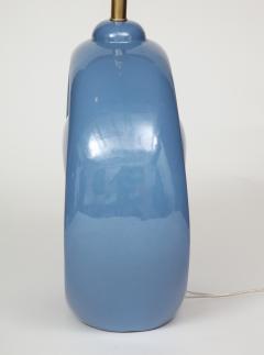 Mid Century Conflower Blue Porcelain Lamps - 1035161