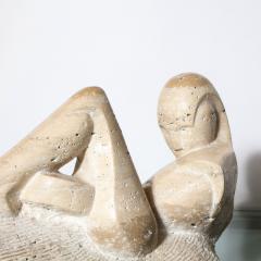 Mid Century Figurative Travertine Sculpture Signed Constantina Iconomopulos - 1949952