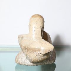Mid Century Figurative Travertine Sculpture Signed Constantina Iconomopulos - 1949960