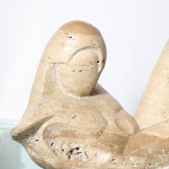 Mid Century Figurative Travertine Sculpture Signed Constantina Iconomopulos - 1949965