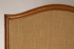 Mid Century French Five Fold Oak and Rattan Screen - 1687596