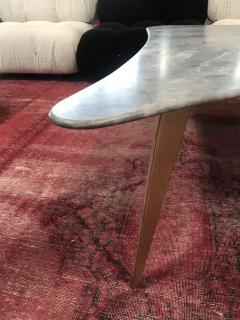 Mid Century Grey Marble and Brass Coffee Table Italy 1960s - 1297518