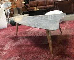 Mid Century Grey Marble and Brass Coffee Table Italy 1960s - 1297519