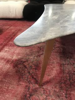 Mid Century Grey Marble and Brass Coffee Table Italy 1960s - 1297521