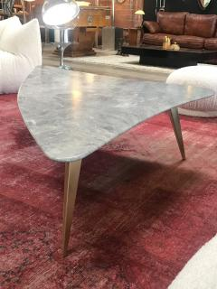 Mid Century Grey Marble and Brass Coffee Table Italy 1960s - 1297524