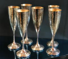 Mid Century Hand Hammered Silver Set 6 Glasses Italy 1950s - 1043329