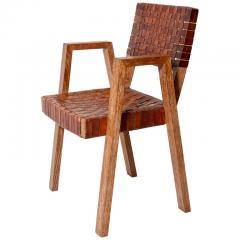 Mid Century Handwoven Leather and Wood Chair France circa 1940s - 1960810