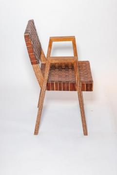 Mid Century Handwoven Leather and Wood Chair France circa 1940s - 1960811