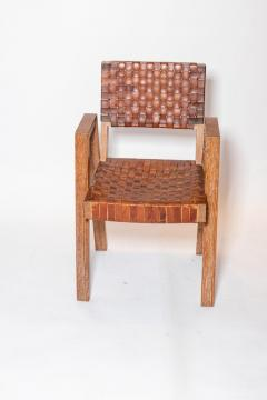 Mid Century Handwoven Leather and Wood Chair France circa 1940s - 1960812