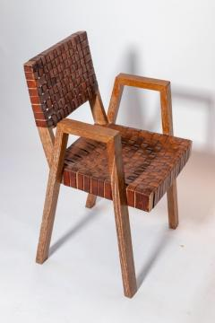 Mid Century Handwoven Leather and Wood Chair France circa 1940s - 1960813