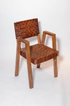Mid Century Handwoven Leather and Wood Chair France circa 1940s - 1960816