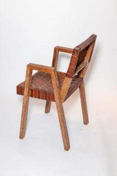 Mid Century Handwoven Leather and Wood Chair France circa 1940s - 1960817