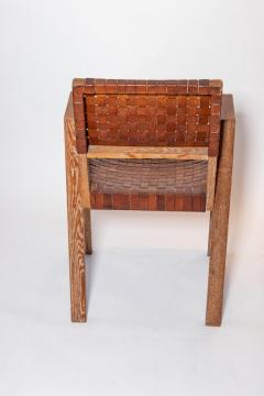 Mid Century Handwoven Leather and Wood Chair France circa 1940s - 1960818
