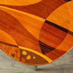 Mid Century Inlayed Mosaic Macassar Mahogany Amboyna Elm Walnut Pear Table - 1866310