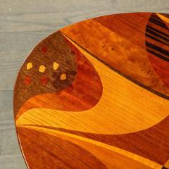 Mid Century Inlayed Mosaic Macassar Mahogany Amboyna Elm Walnut Pear Table - 1866311