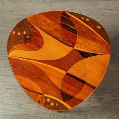 Mid Century Inlayed Mosaic Macassar Mahogany Amboyna Elm Walnut Pear Table - 1866312