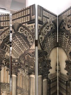 Mid Century Italian Architectural 6 Panel Room Screen - 1354053