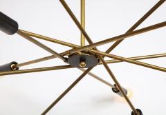 Mid Century Italian Black and Brass Sputnik Chandelier - 2057746