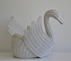 Mid Century Italian Woven Rattan Swan Form Basket - 1077737