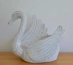 Mid Century Italian Woven Rattan Swan Form Basket - 1077739