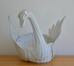 Mid Century Italian Woven Rattan Swan Form Basket - 1077748