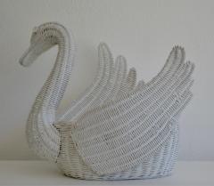 Mid Century Italian Woven Rattan Swan Form Basket - 1077749