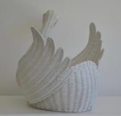 Mid Century Italian Woven Rattan Swan Form Basket - 1077753