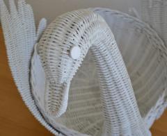 Mid Century Italian Woven Rattan Swan Form Basket - 1077755