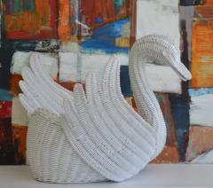 Mid Century Italian Woven Rattan Swan Form Basket - 1077756