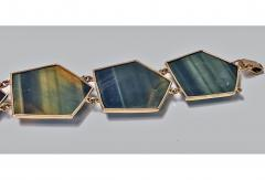 Mid Century Labradorite and Gold Bracelet probably Scandinavian C 1970 - 387193