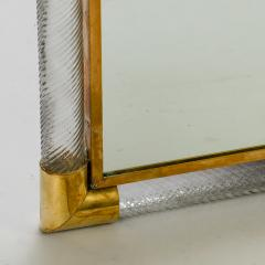 mid century mirror with murano glass and brass frame 216841