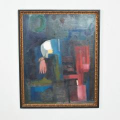Mid Century Modern Abstract Oil on Rich Blue Pink Canvas Double Sided Painting - 1446240