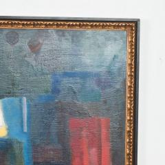 Mid Century Modern Abstract Oil on Rich Blue Pink Canvas Double Sided Painting - 1446242