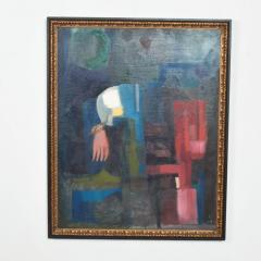Mid Century Modern Abstract Oil on Rich Blue Pink Canvas Double Sided Painting - 1446244