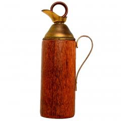 Mid Century Modern Aldo Tura Teak Wood and Brass Italian Pitcher - 1361611