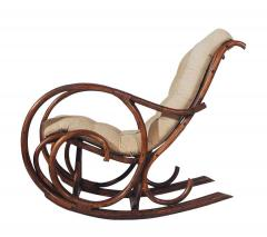 Mid Century Modern Bamboo Rattan Rocking Lounge Chair with Scrolled Arms - 1749208