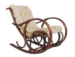 Mid Century Modern Bamboo Rattan Rocking Lounge Chair with Scrolled Arms - 1749210