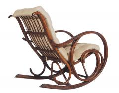 Mid Century Modern Bamboo Rattan Rocking Lounge Chair with Scrolled Arms - 1749211
