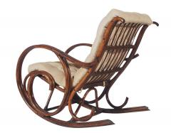 Mid Century Modern Bamboo Rattan Rocking Lounge Chair with Scrolled Arms - 1749212