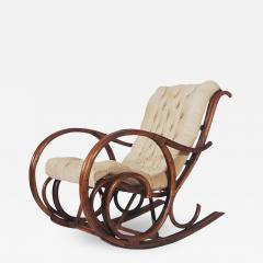 Mid Century Modern Bamboo Rattan Rocking Lounge Chair with Scrolled Arms - 1750354