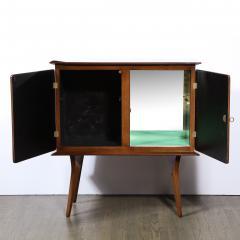 Mid Century Modern Bookmatched Brass Walnut Bar with Celadon Glass Interior - 2143492