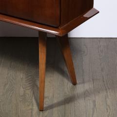 Mid Century Modern Bookmatched Brass Walnut Bar with Celadon Glass Interior - 2143501