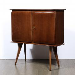 Mid Century Modern Bookmatched Brass Walnut Bar with Celadon Glass Interior - 2143503