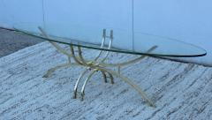 Mid Century Modern Brass And Glass Oval Coffee Table - 1277197