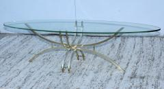 Mid Century Modern Brass And Glass Oval Coffee Table - 1277198