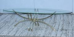 Mid Century Modern Brass And Glass Oval Coffee Table - 1277201
