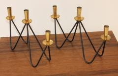 Mid Century Modern Brass And Iron Candlesticks - 1193384