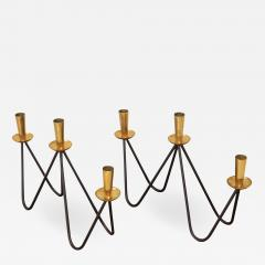 Mid Century Modern Brass And Iron Candlesticks - 1193827