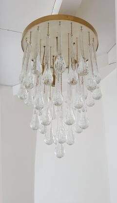 Mid Century Modern Brass and Murano Clear Glass Drops Flush Mount ceiling Light - 1205602